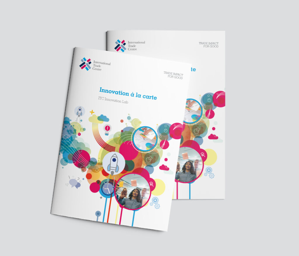 Front page of the colorful brochure